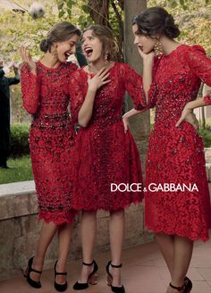 Dolce and Gabbana, F/W 2013 Ad Campaign. love this red detailed dresses!!