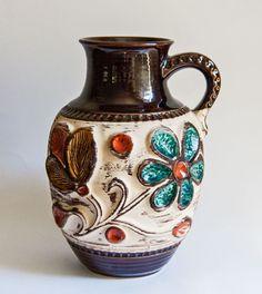 West German Bay Keramik, Vintage Floral Vase Urn 1975 $110
