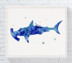 Hammerhead Shark Art Print Hammerhead Shark by MiaoMiaoDesign