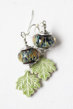 Blue and Green Lampwork Leaf Earrings  by jenniflairjewelry