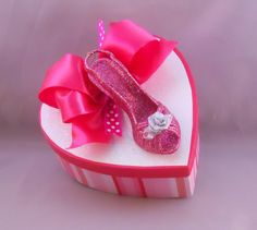 Heart Shaped Gift Box with A Glittered Shoe on Top. $12.00, via Etsy.