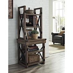 Dorel Home Furnishings Wildwood Rustic Gray Brown Audio Pier / Bookshelf