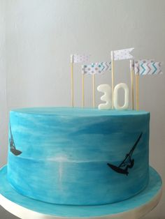 30th windsurfing cake. Hand painted www.s-k-cakes.co.uk
