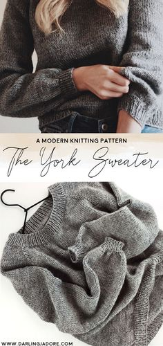 This easy sweater knitting pattern, The York Sweater by Darling Jadore, is the perfect pattern for beginners who want to knit a raglan-style sweater. Easy Sweater Knitting Patterns, Knit Patterns, Knitting Ideas, Knitting Designs, Couture, Chevron, Knit Crochet, Crocheting, Stitches