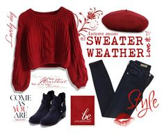 """""""Sweater Weather Part 1"""" by sapphire12 ❤ liked on Polyvore featuring Chicwish, Gucci, AG Adriano Goldschmied, Tommy Hilfiger, red, denim and sweaterweather"""