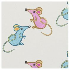 Cute pink and blue mice with curly tails