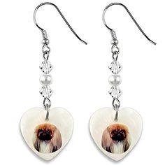 Pékinois - Mère de boucles d'oreilles de perles en forme de coeur