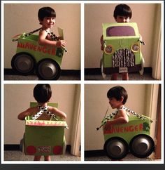 Monster truck costume... Box, green paint (leftover from another project), construction paper, party plates and bowls, aluminum foil and lots of glue! ... Tried to copy the monster truck in my sons favorite book.