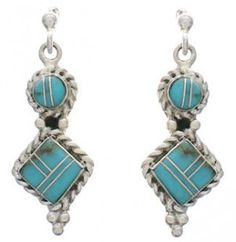 Turquoise Inlay And Silver Post Dangle Earrings FX31044 http://www.silvertribe.com