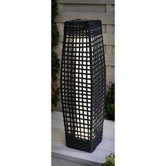 69cm Garden Patio Rattan Floor Lamp Lantern Metal Wicker Solar Power LED