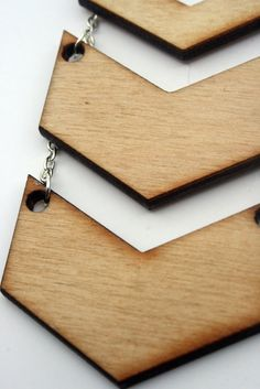 LaserCut Natural Wood Chevron Necklace by HandfulOfArrows on Etsy, $30.00