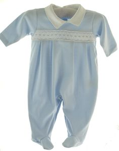 Kissy Kissy Baby Boys Blue Footed Footie Sleeper Outfit with Collar. Maybe take home outfit?