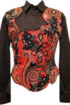 Black, Red, Orange & Gold Vest Set
