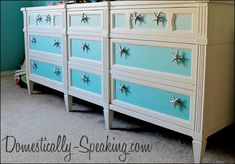Ombre Dresser with Starfish Knobs @ Domestically-Speaking.com