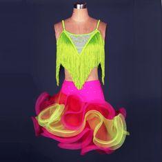 NEW LATIN BALLROOM SALSA RHUMBA DRESS RUFFLES LIME GREEN GLITTERED LADIES XSM//SM