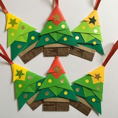 昔作っていたシリーズ① 折り紙のクリスマスオーナメント。今年も時期が来たら販売します #折り紙 #origami #クリスマスオーナメント #クリスマス