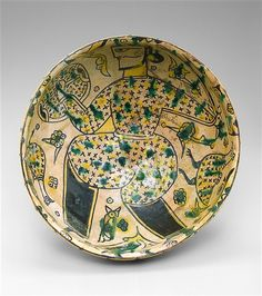 """BOWL INSCRIBED """"BLESSING"""" (Iranian)  Date     10th Century Medium     Underglaze-painted earthenware with white slip"""