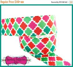 SUPER SALE Christmas Quatrefoil Ribbon  Red by HairbowSuppliesEtc