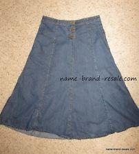 Christopher & Banks Denim Jean Long Flare Modest Skirt No Slits Womens Size 12