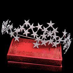 Gwiazda bride korona diadem i korony ślubne hairbands rhinestone biżuteria dla nowożeńców ślub włosów akcesoria do włosów