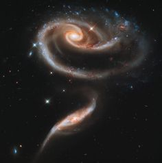 Hubble's 21st anniversary image is of two interacting galaxies collectively namedArp 273. It is believed the pair are actually in the late stages of their collision.