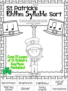 St. Patrick's Day Music printables for your music program! Tweet Music has compiled a St. Patrick's Day music resource with 28 worksheets covering a range of activities and levels for the multi-grade music teacher.