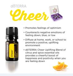 doTERRA Cheer Uplifting BlendI use only doTERRA's high-quality essential oils. To order, message me or shop here: https://www.mydoterra.com/ShoppingCart/index.cfm