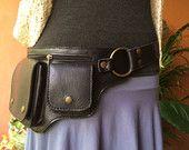Leather Utility Belt Bag / Fanny Pack / Hip Bag / Iphone Wallet / Steampunk Festival Belt / Burning Man - The Hipster