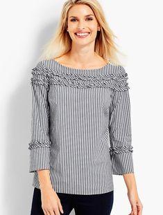 Stripe Shirred Ruffle Top | Talbots