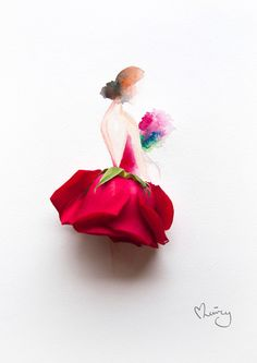 Lim Zhi Wei floral art is an inspiration to all those who love to create beautiful floral illustrations. She use flower petals to make amazing compositions. Art Floral, Illustration Blume, Watercolor Illustration, Watercolour, Watercolor Images, Flower Watercolor, Watercolor Paintings, Real Flowers, Art Flowers