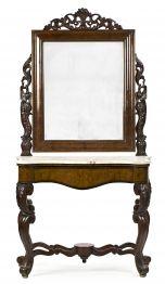 Consola isabelina con espejo en palisandro tallado, de mediados del siglo XIX