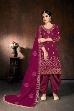Salwar Kameez, Patiala, Salwar Suits, Costumes Punjabi, Patiyala Dress, Plum Purple, Magenta, Pink, Fashion Catalogue