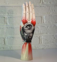 SPRING SALE 85.00 now 75.00 Wooden Hand Art Sculpture / painting / Ornament / Jewellery Tree - Featuring Illuminati and a Graffiti Style S by HooDooVooDooArts on Etsy https://www.etsy.com/listing/217572598/spring-sale-8500-now-7500-wooden-hand