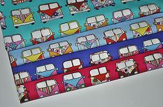 VW Camper Van Fabric 100% Cotton Material  Novelty Retro Design **FREE POSTAGE** Retro Design, Free Design, Bus Camper, Printing On Fabric, Vw, Amazing, Prints, Cotton, Fabric Printing