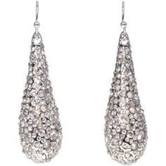 Rental Alexis Bittar Silver Pave Teardrop Earring ($15) ❤ liked on Polyvore featuring jewelry, earrings, silver earrings, long teardrop earrings, earrings jewelry, silver jewellery and tear drop earrings