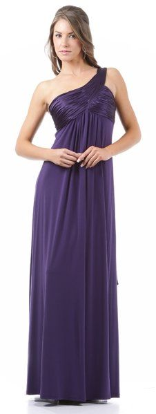 Purple Semi Formal Dress Chiffon One Shoulder Evening Long Gown $108.99