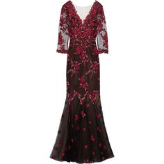 Marchesa Notte Embroidered tulle gown (1.740 BRL) ❤ liked on Polyvore featuring dresses, gowns, black, floral embroidery dress, sequin ball gown, floral embroidered dress, flower embroidered dress and embroidery dresses