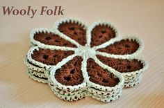 SALE 20 OFF Flower Coasters Set  chocolate/mint by WoolyFolk, $12.79