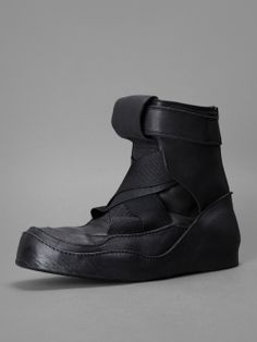 Julius - high top trainers with buckled ankle and elastic detail, internal heel and back zip closure
