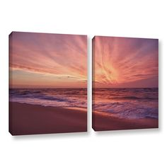 Outer Banks Sunset Iii by Dan Wilson 2 Piece Gallery-Wrapped Photographic Print Canvas Set