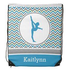 Blue / Grey Chevron Stripes Gymnastics w/ Monogram Drawstring Bag #drawstring #backpack