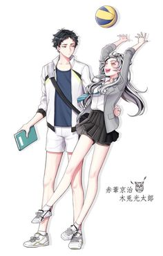 Thx pic  Akaashi and Genderbent Bokuto