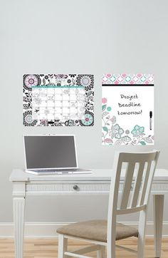 Wallpops 'Floral Medley' Message Board & Wall Calendar
