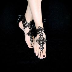 Tatted Barefoot Sandals Ankle Corsets Sandals of by TotusMel