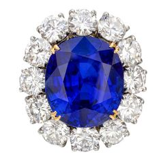 VAN CLEEF & ARPELS Burmese 10.51 Carats Sapphire Platinum  Diamond Ring  France  late-20th century