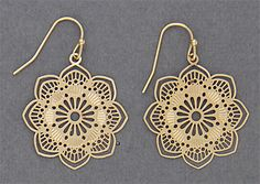 Simply Whispers jewelry pierced earrings gold French hook lace flower drop