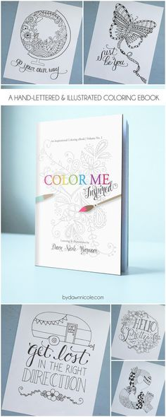 This printable Color Me Inspired book looks like so much fun! An Inspirational Adult Coloring Page - could have fun and add to my home decor. - Diy Crafts for The Home Coloring Book Pages, Coloring Sheets, Organisation Planner, Diy And Crafts, Paper Crafts, Ideias Diy, Copics, Mellow Yellow, Printable Coloring