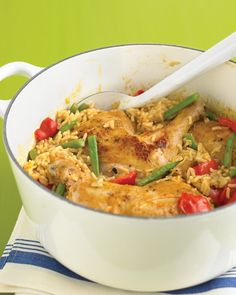 Thai red curry paste and light coconut milk lend an exotic twist to chicken casserole. In addition to red bell peppers and green beans, you could also add eggplant, zucchini, or carrots.
