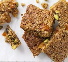 Apricot, honey & pistachio flapjacks. Dried apricots are a great source of iron :)