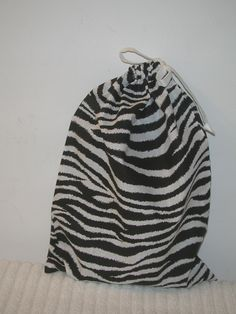 Medium Black and White Zebra Wrapping Bag with white fabric drawstring by CrazyAuntBettyBags on Etsy